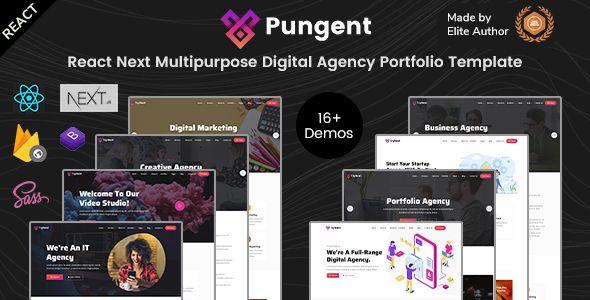 Pungent React Startups Digital Agency Templates Stylelib In 2020 Digital Agencies Templates Portfolio Templates