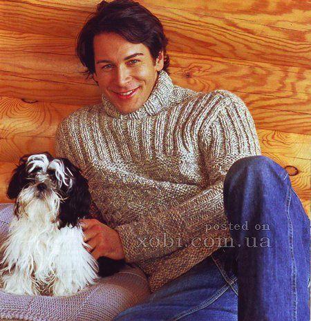 мужской меланжевый свитер спицами