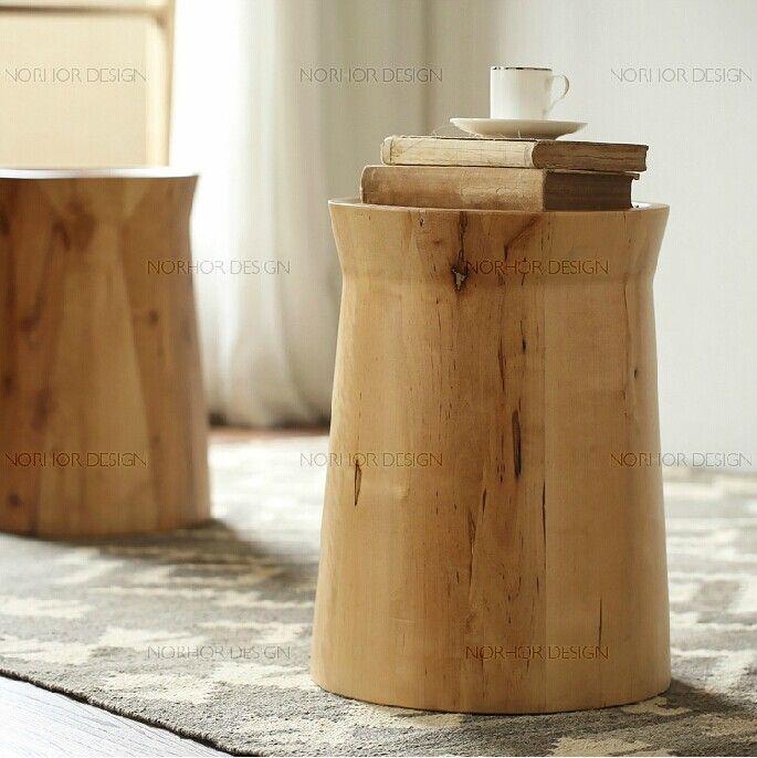 美式创意小圆凳实木换鞋凳木桩凳茶几床头柜储物凳沙发凳-淘宝网