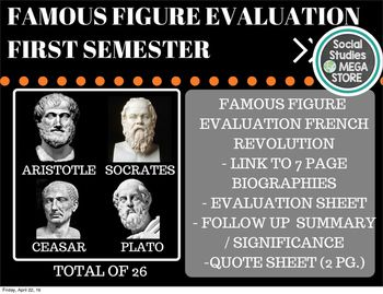 World History First Semester Famous Figure Evaluation THE FIRST SEMESTER OF WORLD HISTORY THE SECOND SEMESTER OF WORLD HISTORY  Here is what is included in this 175 page download: - Lesson Plan - 26 Biographies for:   Socrates, Plato, Aristotle, Caesar, Adam Smith, Thomas Jefferson, jean Jacques rousseau, Baron de Montesquieu.