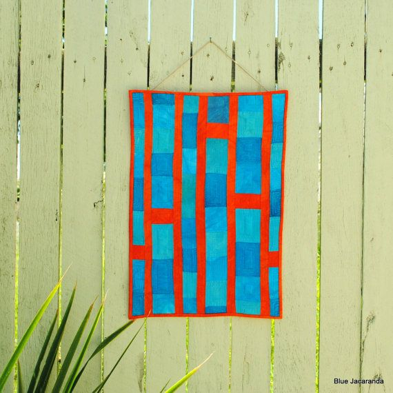 Abstract Art Quilt 'Up and Away' - turquoise and orange, cotton, silk and velvet
