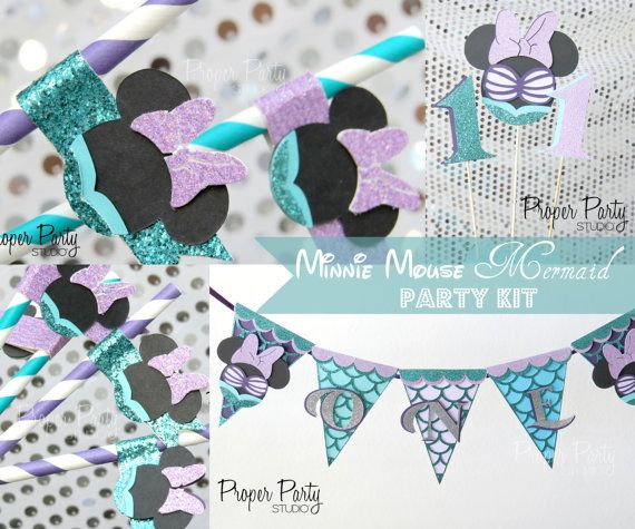 Minnie Mouse Mermaid Banner Under The Sea Aqua Turquoise