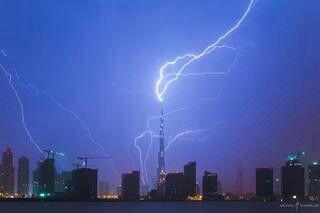 Lightening hitting Burg Khalifa, Dubai
