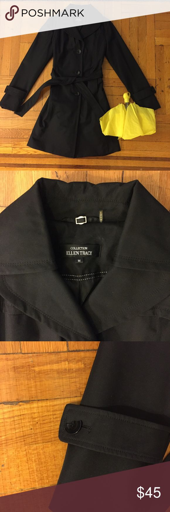 """Ellen Tracy Belted Trench Raincoat Ellen Tracy Belted Trench Raincoat  - Size M  - 36"""" total length, 20"""" chest (pit to pit)  - fully lined  - gently used  - some cosmetic damage to one decorative sleeve button (see photo)  - accessories not included   This super chic, professional, and stylish raincoat is ready for a new home! Throw it on over a suit or dress and you're ready to go - super versatile wardrobe staple!    All measurements approximate, taken with garment lying flat. Ellen Tracy…"""