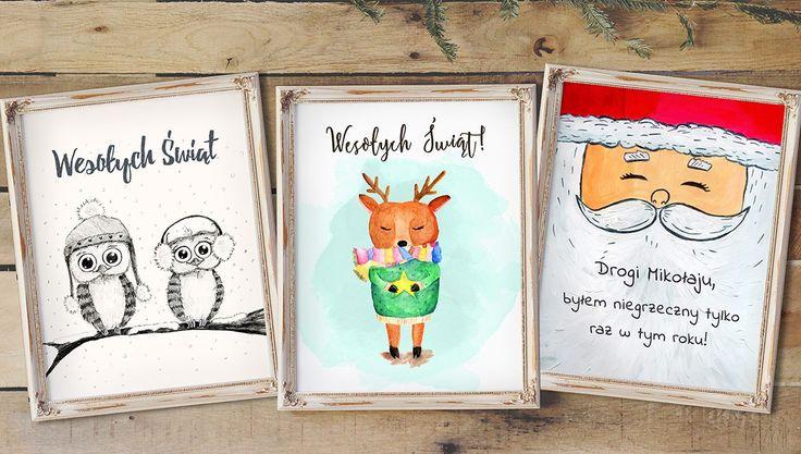 Plakaty świąteczne dla dzieci za darmo - ręcznie rysowane - Maly Wredny Mis