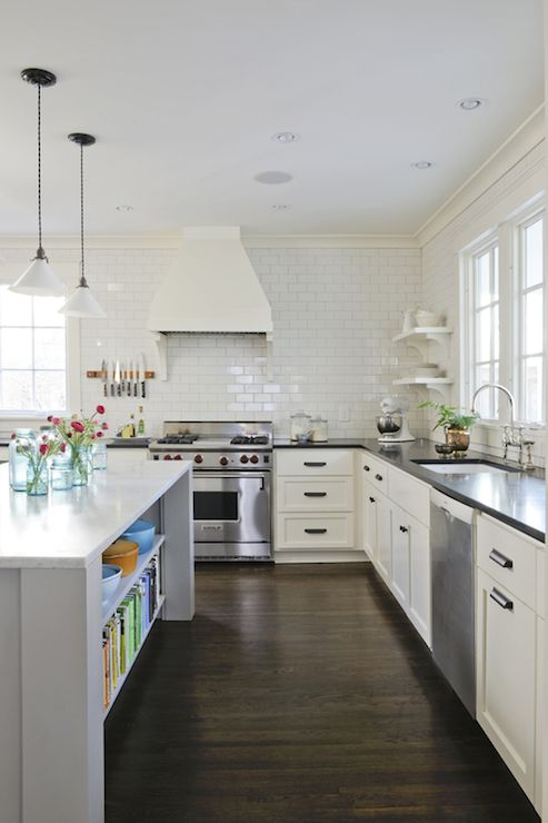Black And White Kitchen Design With White Shaker Cabinets
