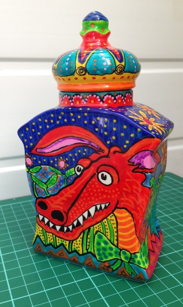 Handpainted Dragon Lidded Vase. One of piece £22.00