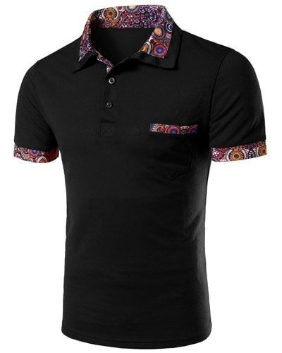 Casual Turn-down Collar Floral Spliced Short Sleeves Men's Polo T-Shirt - BLACK M