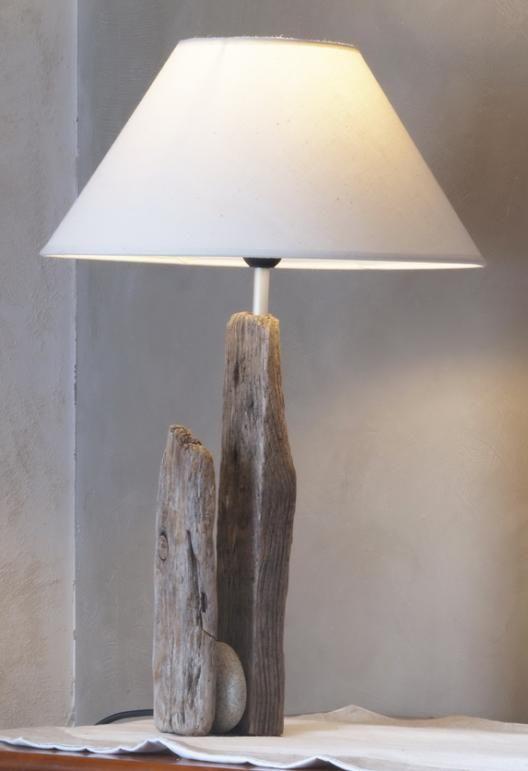 Lampe bois flotté Lesconil