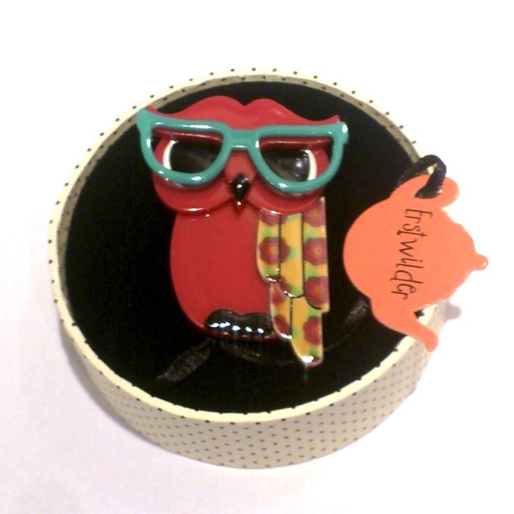 Waldo the Wacky Wise Owl brooch in wackier new colours