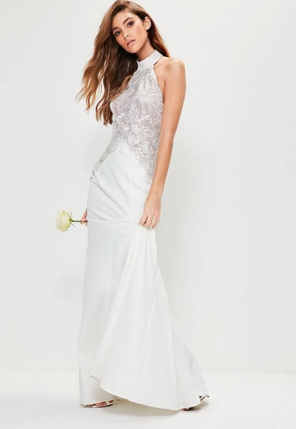 Missguided does monogamy...The new Missbrided collection is here  If you're a bride on a budget, radiating high class vibes doesn't mean a high price tag. Carve a romantic silhouette in this maxi dress - featuring a contemporary high neck...