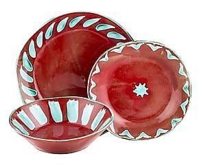Set di 3 piatti in ceramica forte Gloria - rosso/azzurro