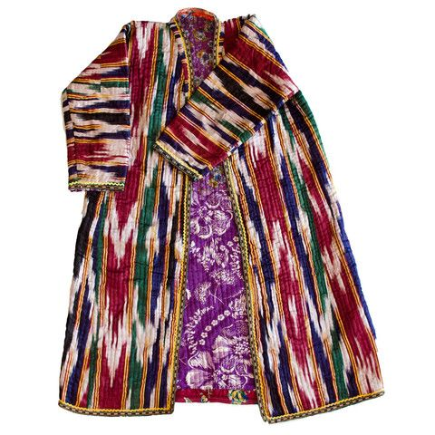 "This vintage Uzbek Chapan, silk ikat robe is lined with cotton and hails from the Kaskardaria region of Uzbekistan. These traditional ""Chapan"""" robes are the primary piece of the Uzbek peoples' dress. They are uniquely designed for men or women. All handmade, you could wear it or slide a piece of bamboo through the arms to display on a wall. This vintage piece was created in the 1970's. #vintage #global #textile #boho"