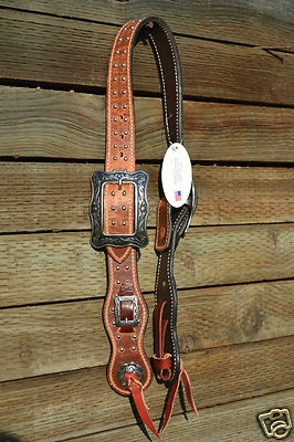 "HR 1 1/2"" Harness Leather Cowboy Belt Headstall w/Dots J. Watt Square Buckles - this thing is BEYOND cool."