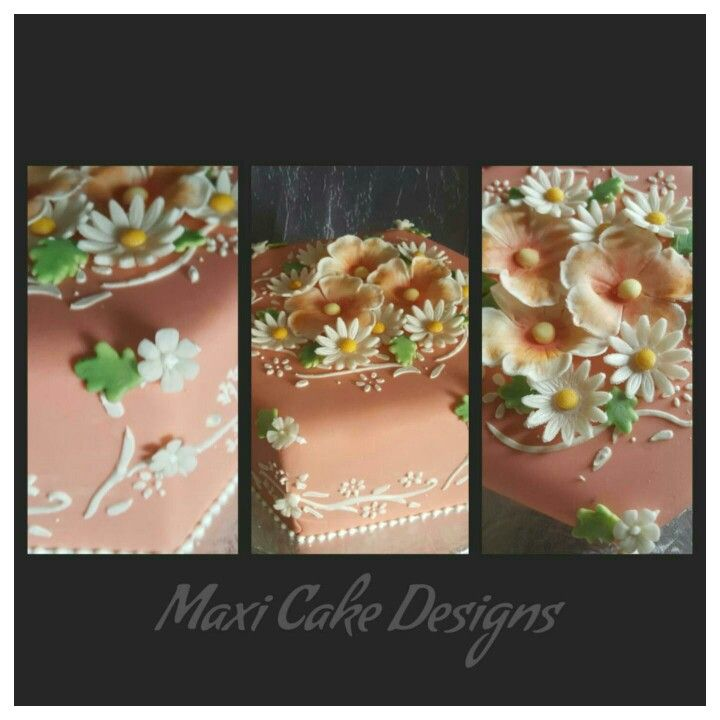 Peach and cream with white/peach flowers