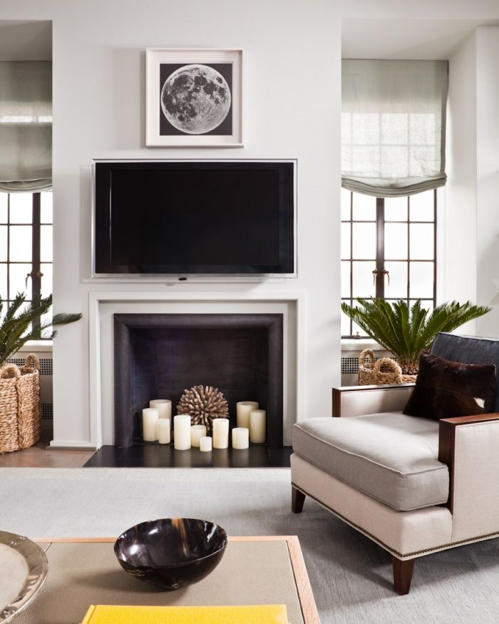 -Thom Filicia - Central Park West Candles in Fireplace and texture from  prop. - 25+ Best Ideas About Candle Fireplace On Pinterest Fireplace