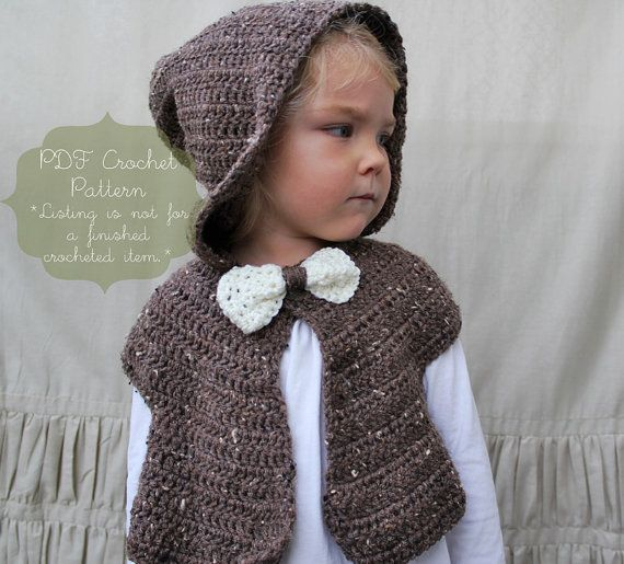 Knitting Pattern For Shrug With Hood : Crochet Pattern: The Cora Hooded Capelet -Toddler, Child ...