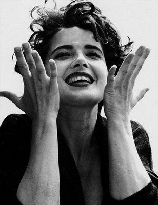 Isabella Rossellini (Actress Model) Ingrid Bergman and Italian Director Rossellini illegitimate daughter. Filmmaker author mainly known as the Lancome model and her movies Blue Velvet and her part in Death Becomes Her.