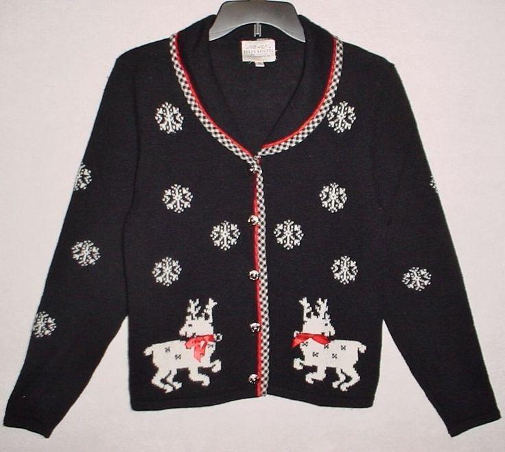 """UGLY! Vtg SUSAN BRISTOL S Gingham Trimmed """"CHRISTMAS Reindeer"""" Sweater, Black #SusanBristol #Cardigan"""