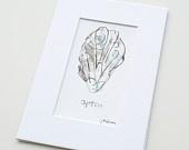 Oyster -Mix & Match Mini Print - Sea - Beach - Watercolor - Hamptons - Long Island - Wall Art - Shellfish