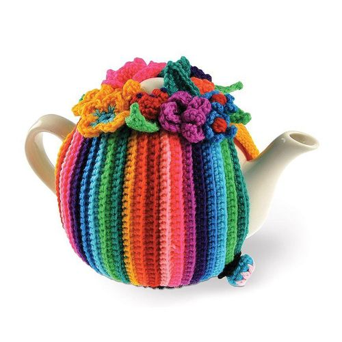 Beautiful multi-coloured tea pot cover crochet kit by Needle-Licious. The kit contains everything you need with easy to follow step-by-step instructions.