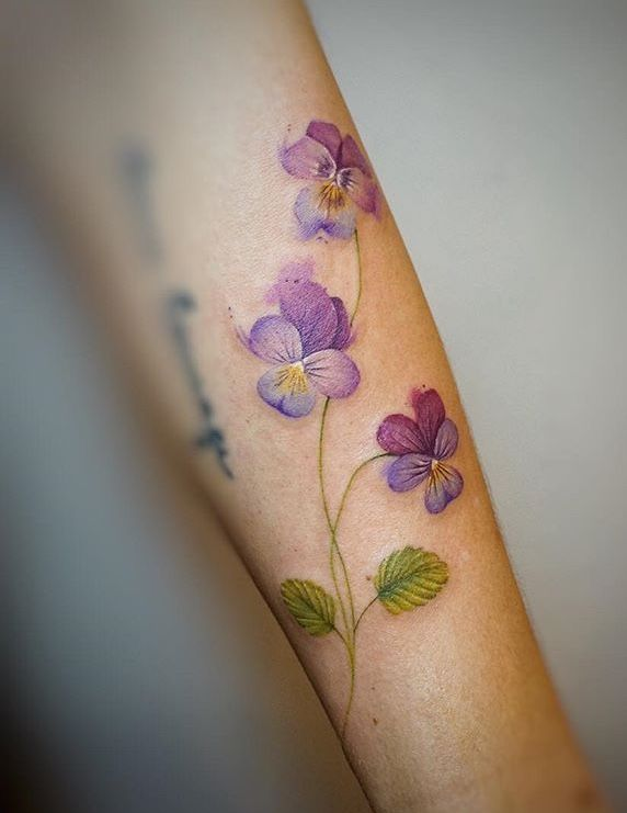 Gno Watercolor Flower Tattoo Vintage Flower Tattoo Violet Tattoo