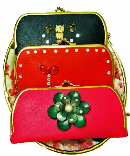 Clutch Long Purse Wallet  OOAK Made w/Swarovski Crystals +, New in Super Colors! #Handmade #Clutch
