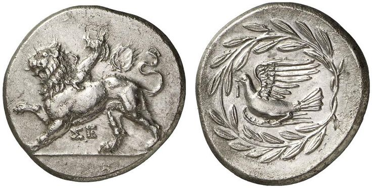 AR Stater. Greek Coins, Italy, Arcadia, Sikyon. Late 330s BC. 12,15g. BMC 56. EF. Price realized 2011: 3.200 USD.