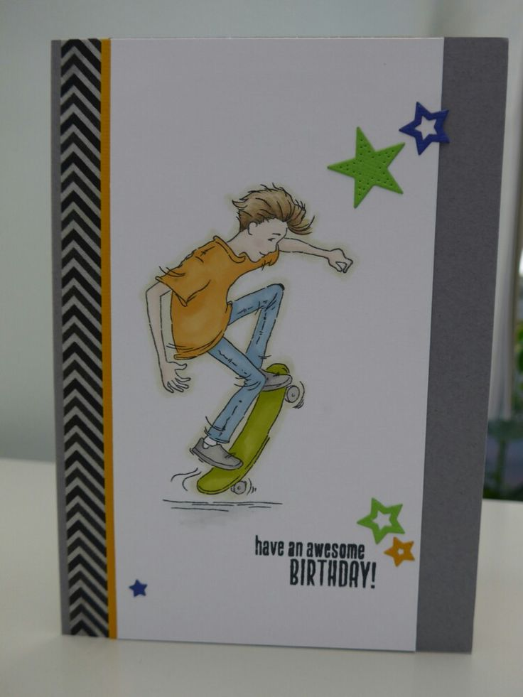 Lili of the Valley teenage boys birthday card using Oliver Skateboard stamp