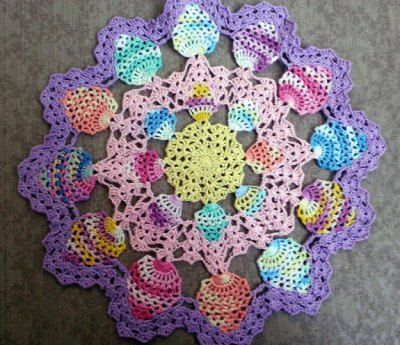 Candied Eggs Doily free crochet pattern - Free Easter crochet Patterns - The Lavender Chair