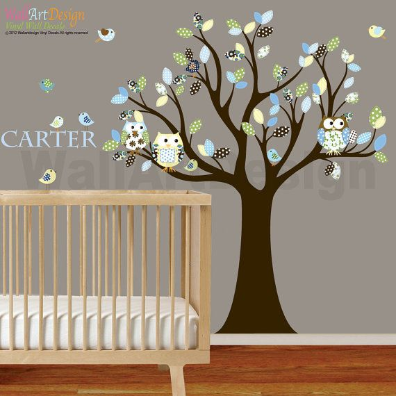 Wall Decals Nursery Decals Stickers Decal Tree with Pattern Leaves Owls Birds Custom Name Decal