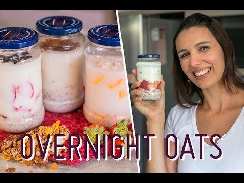 """OVERNIGHT OATS (aveia """"dormida""""): potinhos com cereal, iogurte, frutas p..."""