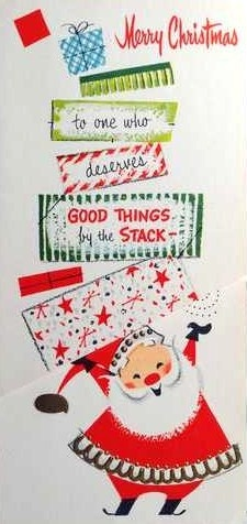 "Vintage 1950s Gibson Christmas Card Santa gifts ""to one who deserves good things by the stack"""