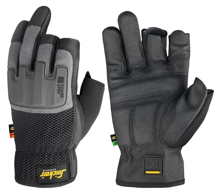 Power Open Gloves that keep you free and protected. Reinforced fingerless work gloves combining reliable protection with total #fingertip control. Features curved design and amazing grip for enhanced working comfort. EN 388. - Snickers Workwear Artnr. 9586