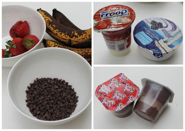 GLACE FÜR KLEINKINDER  Frisches Obst, Joghurt und Schokoladenpudding. Diese schmelzen nicht so schnell wie die Pops aus Saft.