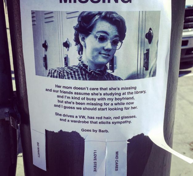 """This missing poster for poor Barb. 