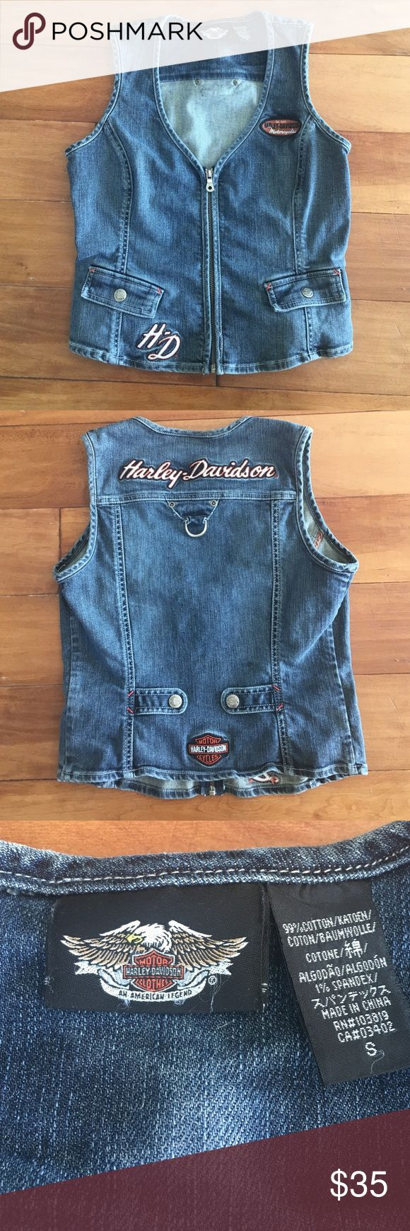 Vintage Harley Davidson Vest Such a fun 90s piece, this vest has amazing details! Denim vest with embroidery and patches on the front and back. There are Harley Davidson snaps on the front pockets and on the back as well. Looks good by itself or worn over something else. Very good vintage condition. Harley-Davidson Jackets & Coats Vests