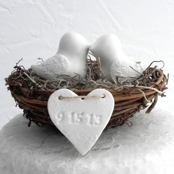 "Rustic Wedding Cake Topper  White Love Birds in Nest  by LavaGifts, $67.00...could be replicated inexpensively for tabletops as a lovebird ""theme"""