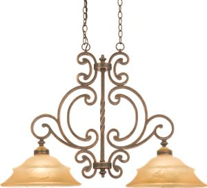 """Kalco Hamilton 4437 2-Light Island Pendant Dimensions: Width 46"""" x Height 26.25"""" l: 15""""  (2) 100-watt medium base Finishes: Available in all custom finishes >  Glass: Champagne glass included The strong, silent type, the Kalco Hamilton Collection brings a calming warmth to your home. Art Deco, Art Nouveau, Rustic & Eclectic Pool table & Island Lights - Brand Lighting Discount Lighting - Call Brand Lighting Sales 800-585-1285 to ask for your best price!"""