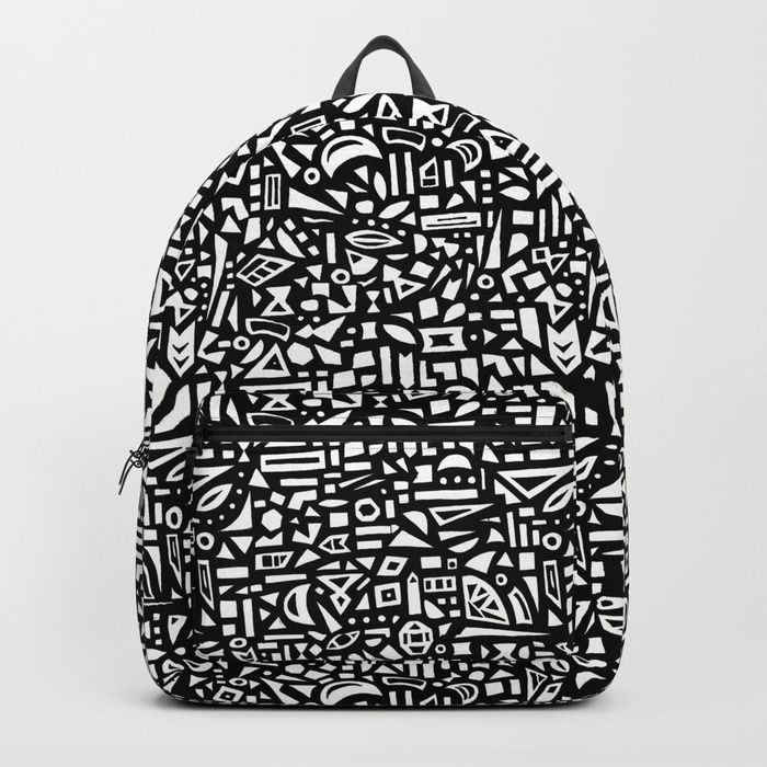 Buy Black and White Modern Geometric Pattern. Backpack by jenwarman.  Worldwide shipping available at Society6.com. Just one of millions of high  quality ... fa708ccaa9b15