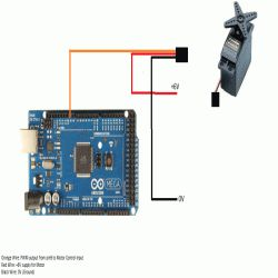 Interfacing Servo Motor with Arduino MEGA-2560 Circuit Diagram