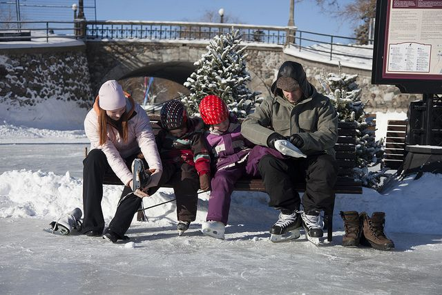 A family gets ready for a day on the Rideau Canal Skateway by Canada's Capital - Capitale du Canada, via Flickr