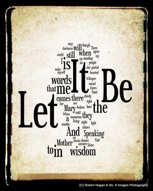 Let It Be Lyrics - The Beatles Word Art - Word Cloud Art 16x20 Print - Gift Idea. $40.00, via Etsy.