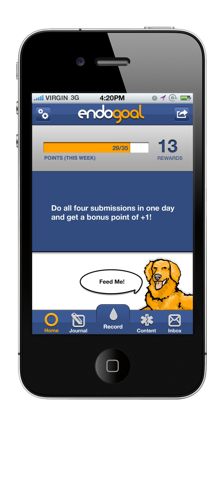 EndoGoal: a virtual pet game and rewards program for users of all ages with insulin dependent diabetes.