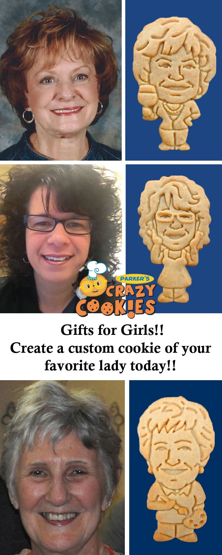 Give a gift your favorite lady will never forget with a custom cookie from Parker's Crazy Cookies!! Discover the magic at www.parkerscrazycookies.com. As seen on the Food Network!
