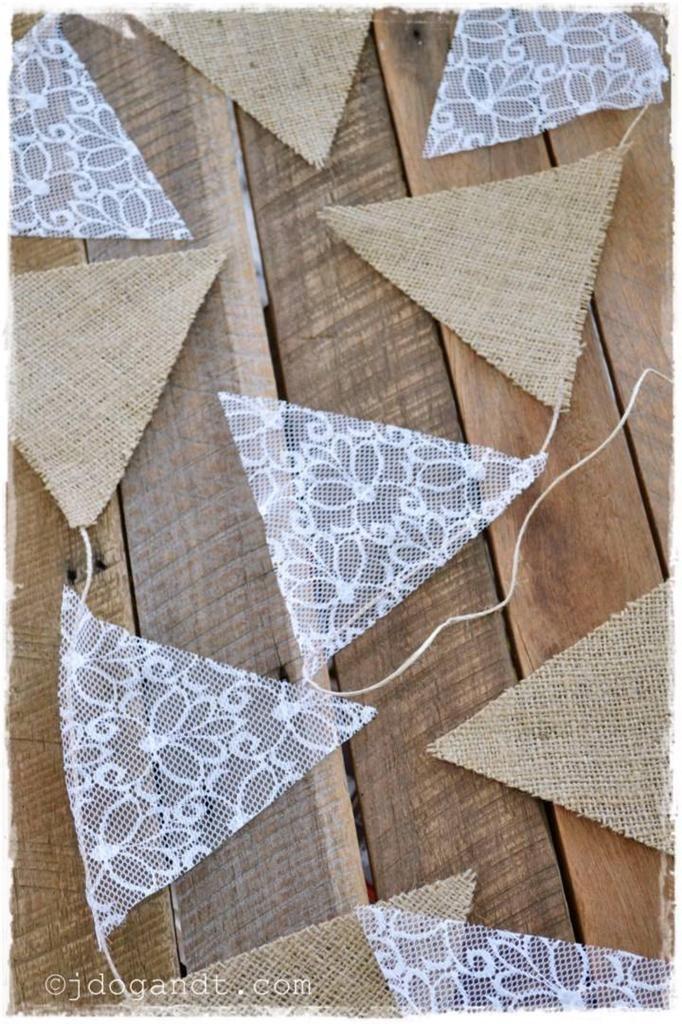 Wedding Bunting Burlap Hessian Lace Garland Vintage Country Shabby Chic White | eBay