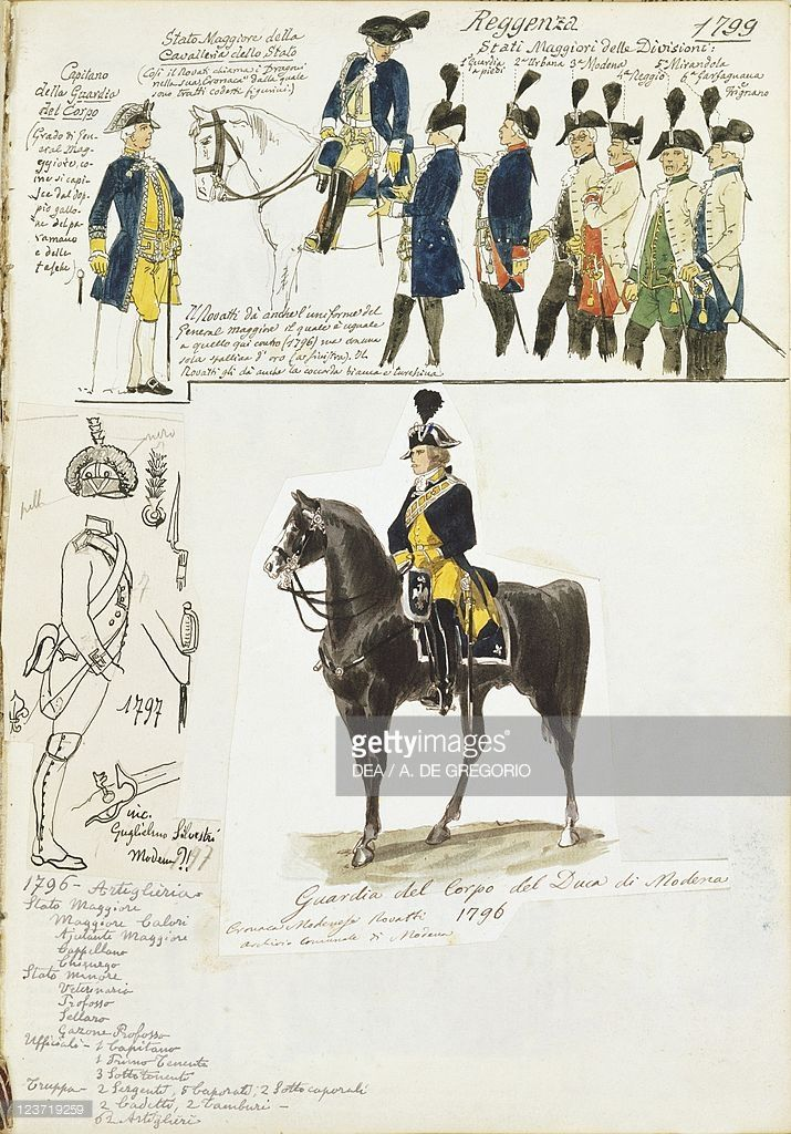 Foto stock : Various uniforms of Duchy of Modena by Quinto Cenni, color plate, 1796-1799