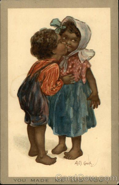 """You Made Me Lub You"" - Two Black Children Kissing Series 1413"