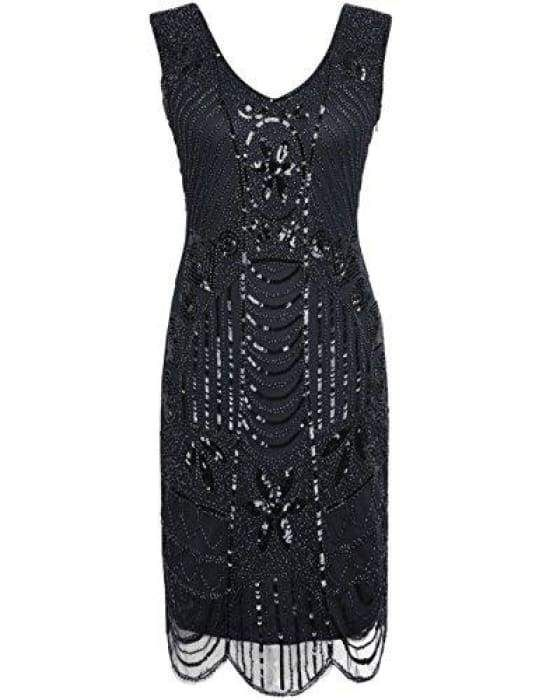 1920s gatsby sequin art deco scalloped hem cocktail flapper dress