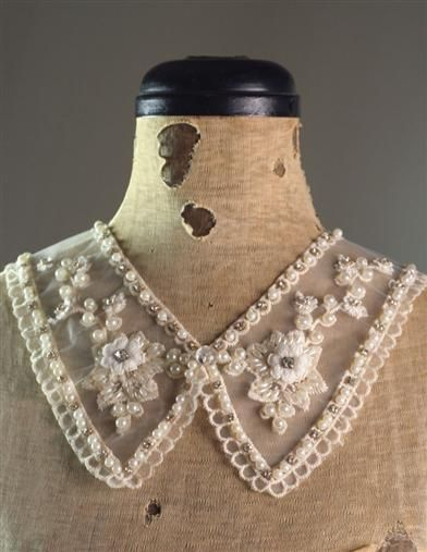 """VICTORIA LACE COLLAR Detachable collar that can easily take any outfit from day to night, modern to vintage. 13.5"""" circumference, 3.5"""" from stone to end of lapel.  $19.95 ($35 Value)"""